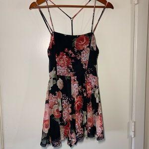 Floral black mesh romper